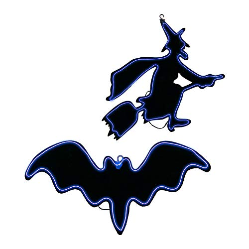 Halloween Haunters Purple Light-Up Sign Hanging Wicked Witch and Vampire Bat Silhouette Set Prop Decoration - Black Backdrop with Constant, Blinking or Flashing Purple Lights - Scary Broomstick]()