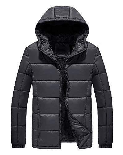 SCHONTAN Mens Winter Puffer Jackets Guides Down Hoody (Black, XL)
