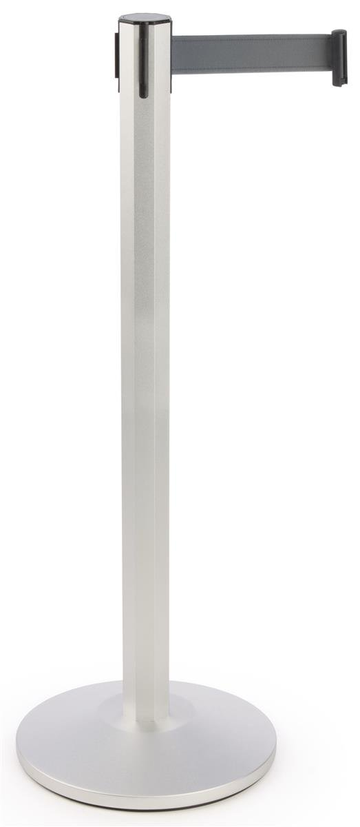Crowd Control Pole - Deluxe 40.25'' Octagonal Pole with 9'-7'' Grey Woven Nylon Belt - Sparkling Sliver Powder-Coated Anodized Aluminum Construction w/ weighted base - Stanchion