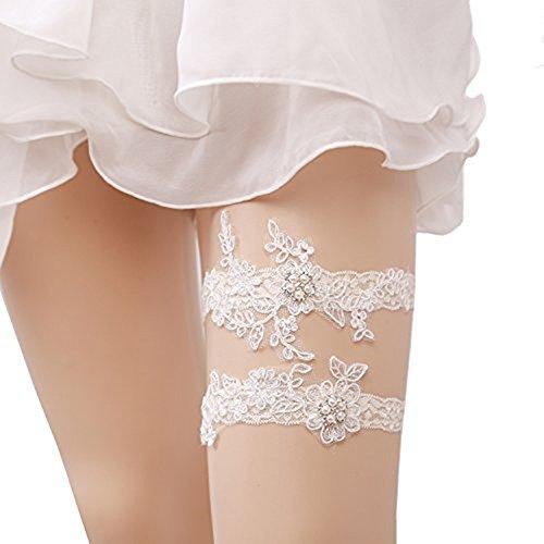 Lace Bridal Garter Set - M_Eshop Women Wedding Bridal Garter with Pearl Lace Garter Set (White-3)