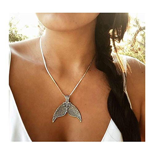 YRY Dolphin Mermaid Tail Pendant Necklace Vintage Necklace Silver for Girls for Kids for Woman