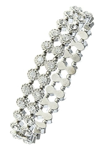 TRENDY FASHION JEWELRY CRYSTAL LINED DOUBLE ROW BRACELET BY FASHION DESTINATION | (Crystal Double Row Bracelet)