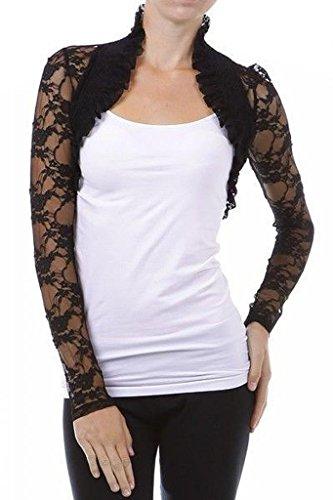 Imagenation Lace Cropped Open Shrug Bolero, Large, Black