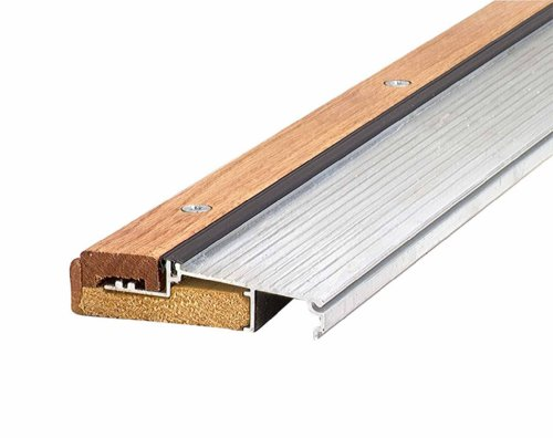 M-D Building Products 76281 1-1/8-Inch by 4-9/16-Inch 73-Inch TH393 Adjustable Aluminum and Hardwood Sill Inswing, Mill (Best Finish For Exterior Wood Threshold)