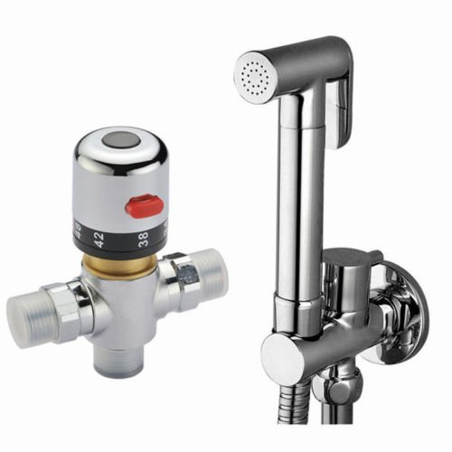 Buy Brass Thermostatic Mixing Valve Shower Faucet: Ownace Solid Brass Toilet Wall Mounted Thermostatic Mixer