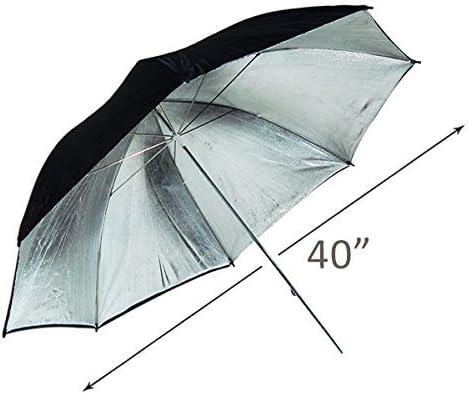 AGG128 LimoStudio 40 Large Double Layer Black and Silver Photo Studio Light Reflector Umbrella Camera