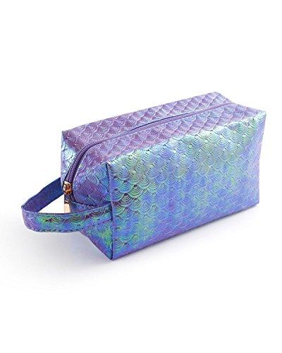 Travel Cosmetic Makeup Bag, Zodaca Fashion Glitter Bling Shiny Mermaid Scales Sequin Portable Travel Organizer Makeup Case Zipper Pouch Toiletry Bag Womens Clutch, Purple (7.1 x 3.9 x 3.1)