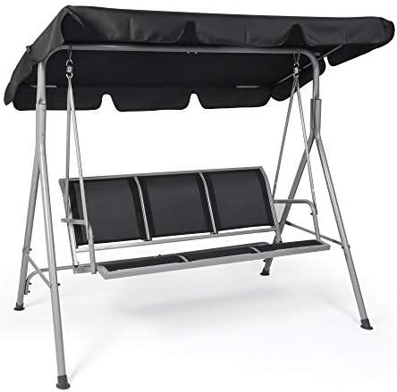 Koreyosh 3-Person Outdoor Swing Chair Adjustable Canopy Hammock Seats,Patio Porch Garden Swing,Black