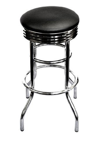 TRINITY 29 Chrome Swivel Barstool – Black assembled
