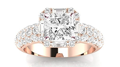 2 Carat t.w. 14K Rose Gold Cushion Modified Designer Popular Halo Style Baguette and Pave Set Round Diamond Engagement Ring I-J/SI1 Clarity Center Stones. (Style Pave Set Diamond)