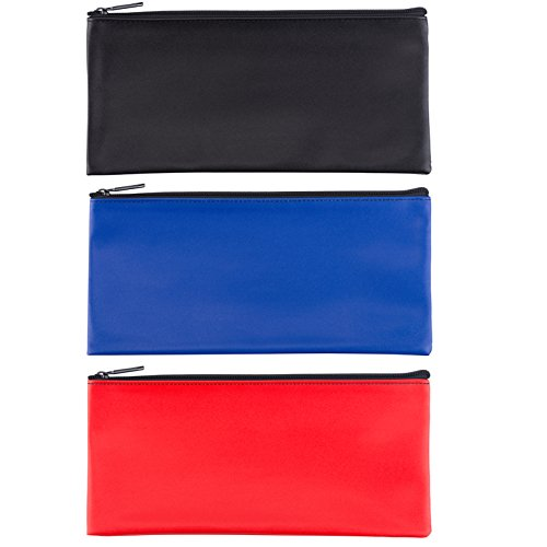 Leatherette Zipper (LUNASMILE Leatherette Securit Bank Deposit Bag/Check Wallet/Utility Zipper Coin Bag, 11 x 6 inches Check Bag (Mix2))