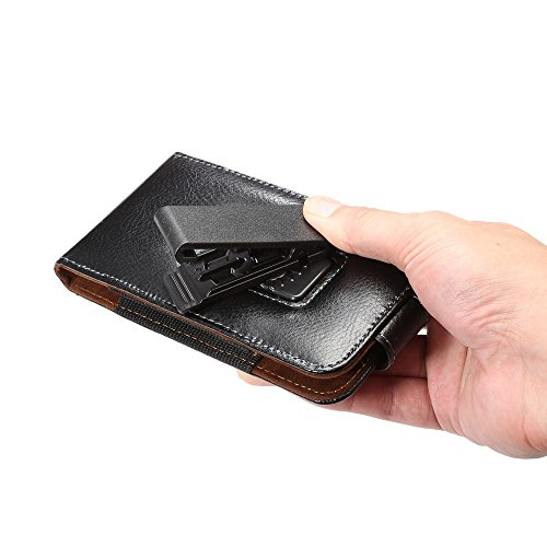 DFV mobile - Magnetic Genuine Leather Holster Executive Case belt Clip Rotary 360º for =>      APPLE IPHONE 5 / 5S > Black