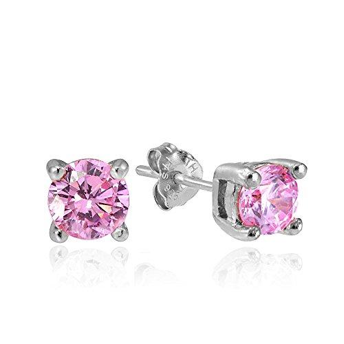 Hoops & Loops Sterling Silver 1/2ct Pink Cubic Zirconia 4mm Round Stud Earrings