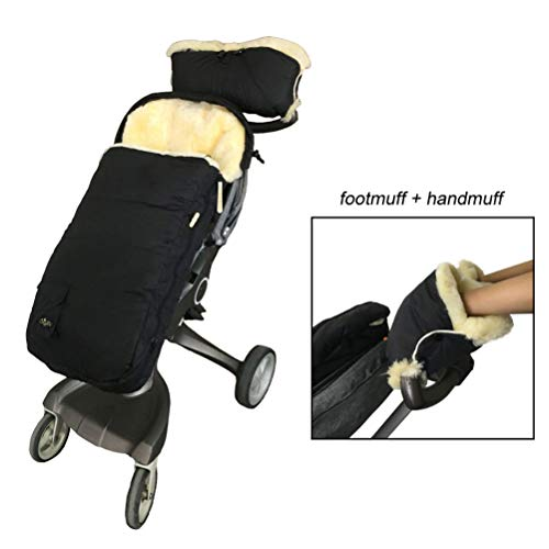 100% Premium Australia Sheepskin Stroller Footmuff Come with Lambskin Handmuff, Waterproof Weather Resistant Lambskin Baby Bunting Bag and Hand Warmer Keep Baby and Parent Warm,Cream (Best Baby Bags Australia)