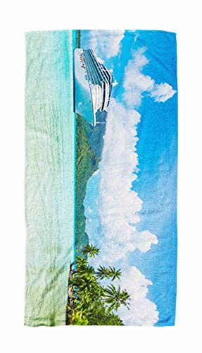 EMMTEEY Bath and Beach Towel,Panoramic Ocean Palm Tree Landscape View of Bora 30x60Inch Microfiber Oversized Large Quick Dry Swimming Pool Towel,Ivory Black