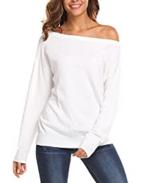 Women's Off Shoulder Sweater Boat Neck Long Sleeve Loose Fitting Sexy Sweatshirt Knit Jumper Sweater Pullover