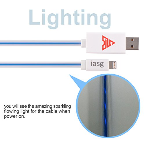 Iasg(MFI Certified) Flat Visible LED Lighted Up Charging Lightning to USB Cable for Apple iphone ipad ipod (1 Meter)-White Blue Light