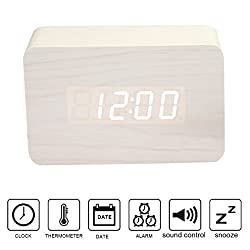 Anten Multi-function Display Wood Clock LED Digital Alarm Clock Snooze Voice Sound Control USB/AAA Time Date Temperature Display Green Light Brown 4.72x3.15x1.50 inch