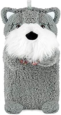 Helps Provide Warmth and Comfort Black Habigail Hot Water Bottle Plush Scottie Dog Super Soft Cover Premium Natural Rubber 1 Litre Hot Water Bag