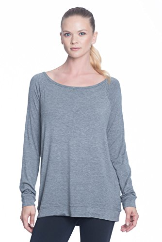 Gaiam Women's Ruby Long Sleeve Tunic - Workout Top For Women - Flint Grey Heather, X-Small