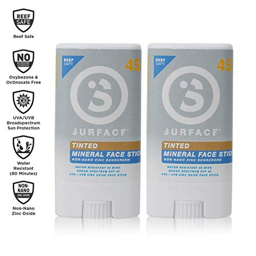 Watermans Face Stick - Surface Tinted Mineral Face Sunscreen Stick - Reef Safe, Broad Spectrum UVA/UVB Protection, Non-Migrating, Non-Greasy, Ultra Water Resistant - SPF 45, 0.5oz, 2 Count