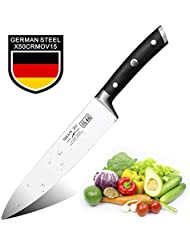 Chef Knife 8 Inch, SHAN ZU Kitchen Knife with High Carbon German Steel & Ergonomic Pakka Wood Handle, Best for Cutting, Slicing, Mincing and Dicing of Fruits, Vegetables and Meats