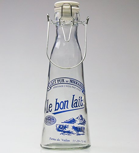 Functional Vintage French Glass Milk Jug with Secure Metal Closing Mechanism by Grant Howard. Add a Touch of Nostalgia & Functionality to Your Décor. Half Liter Bottle is Perfect for All Beverages.