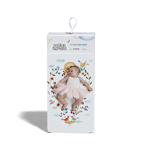 Rookie Humans 100% Organic Cotton Sateen Fitted Crib Sheet: Love Blooms. Complements Modern Nursery Room, Use as a Photo Background for Your Baby Pictures. Standard crib size (52 x 28 inches). by Rookie Humans (Image #2)'