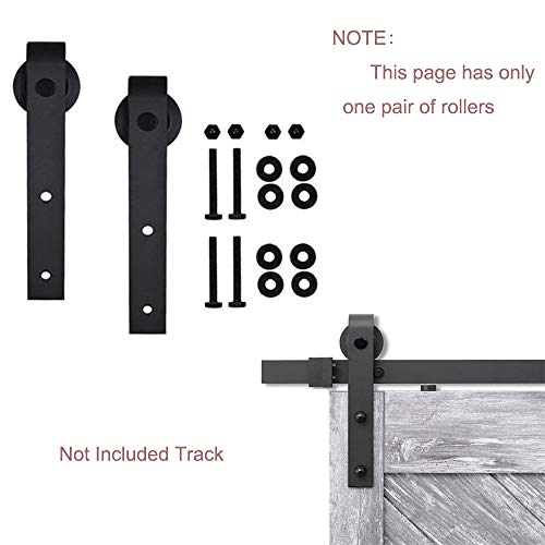 avy Duty Sturdy Antique Steel Interior Sliding Barn Door Panels Hardware Kit - Super Smoothly Quietly | Simple and Easy to Install (Only 1 Pair, Two