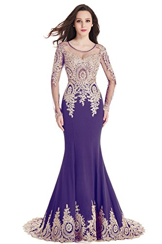 2018 Crystals Lace Long Sleeve Mermaid Evening Prom Dresses with Gold Applique Formal Purple ()