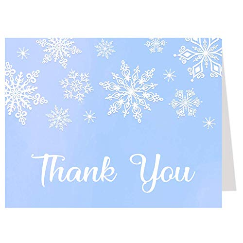 Winter Wonderland Thank You Cards, Baby Shower Thank You Cards, Boy Baby Shower, Boy Blue, Winter Wonderland, Baby Shower, Snowflakes, Snowfall, White, Winter, Set of 50 Printed Cards with Envelopes