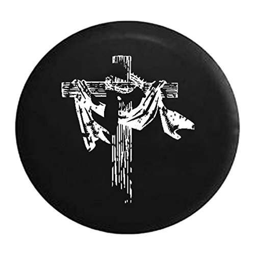 Life Crucifix (Distressed - Wooden Cross Religion Crucifix & Crown of Thorns Spare Jeep Wrangler Camper SUV Tire Cover 33 Inch)