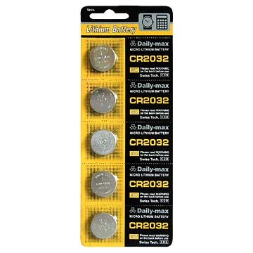 Pack of 5 CR2032 Lithium Button Cell 3-volt Batteries