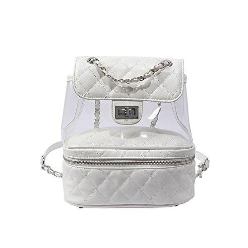 Jelly Con Trasparente Rombico LQQAZY Zaino Materiale Catena White A In Colore Femminile A Contrasto qIPaawxY