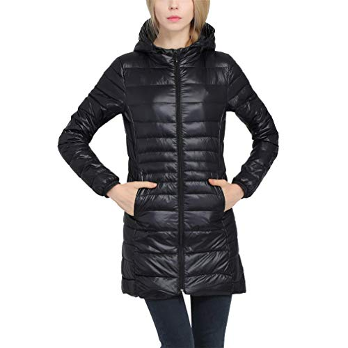 NUTSHION New Casual Warm Coat Women Ultralight Down Jacket Female Long Down Black XXL
