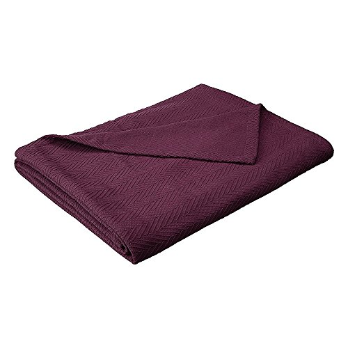 Metro Weave Blanket - 100% Soft Premium Cotton Blanket - Perfect for Layering Any Bed, King, Plum