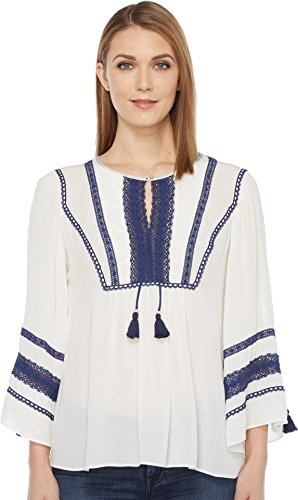 Crinkle Three Quarter Sleeve Shirt (Hale Bob Women's Home Free Crinkle Rayon Gauze Top Ivory Shirt)