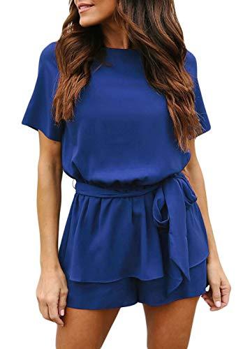 Women's 2 Piece Sexy Short Sleeve Belted Keyhole Back Jumpsuits Waist Tie Round Neck Wide Leg Slim Plain Peplum Rompers Medium Royal Blue