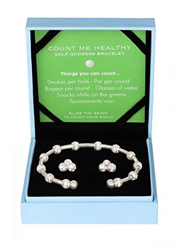 (Golf Goddess Stroke/Score Counter Bracelet Gift Set - Silver)