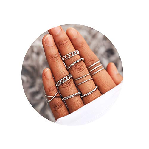 FINETOO 8 PCS Midi Ring Set Simple Knuckle Vintage Silver for Women/Girl Finger Stackable Rings Set DIY Jewelry -