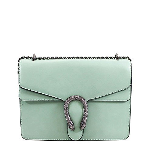 Green Bag Ladies Fashion Detail Horseshoe Shoulder Faux Leather Strap Chain x1vBqz