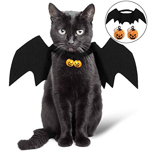 Cat Halloween Costume - Cat Bat Wings - Pet Bat Costume for Small Dogs and Cats with 2 Pcs Pumpkin Bell ()