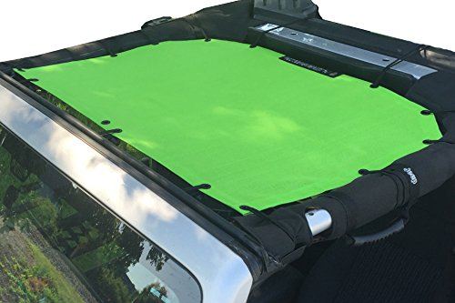 Alien Sunshade Jeep Wrangler Mesh Shade Top Cover with 10 Year Warranty Provides UV Protection for Front Passengers 2-Door or 4-Door JK or JKU (2007-2017) Green