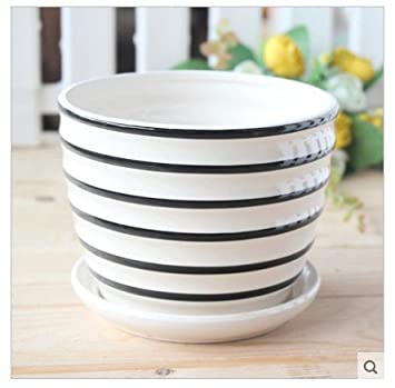Keramik Schwarz und Weiß gestreift Blumentopf mit Untertasse: Amazon ...