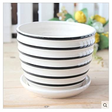 Ceramic Black and White Stripe Flower Pot with Saucer
