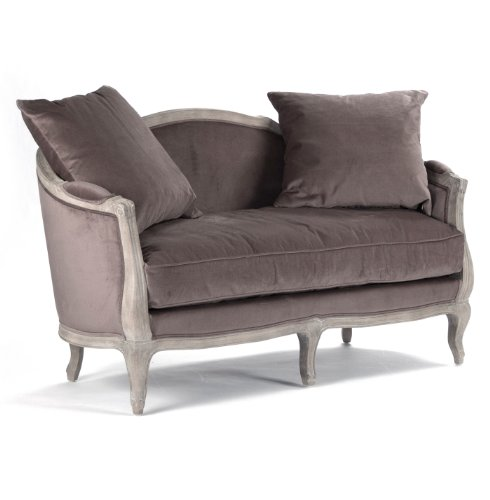 Rue du Bac French Country Chocolate Velvet Feather Settee Loveseat