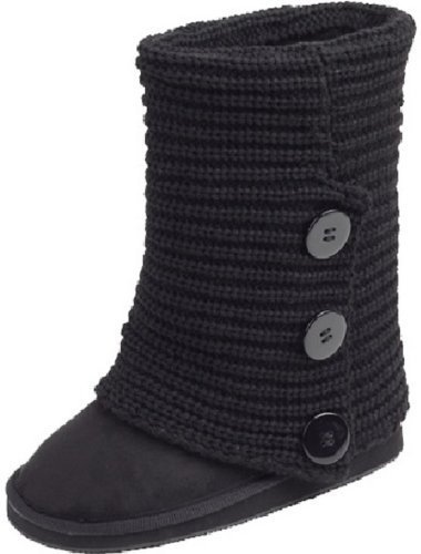 Crochet Boot (Shoes 18 Womens Rib Knit Sweater Crochet Boots 5 Colors Available (9, Black Knit))