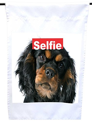 Rikki Knight Selfie Cavalier King Charles Dog House or Garden Flag, 12 x 18-Inch Flag Size with 11 x 11-Inch Image For Sale