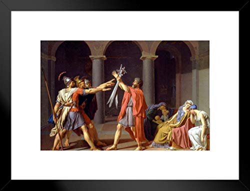 Poster Foundry Oath of The Horatii by Jacques Louis David Matted Framed Wall Art Print 20×26 inch