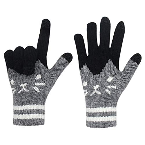 Gloves us Women Men Winter Touch Screen Gloves Warm Knit Texting Mittens for ()